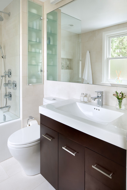 Inspiration For A Contemporary Bathroom Remodel In Toronto With An  Integrated Sink