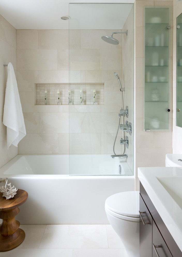 Example of a trendy beige tile alcove bathtub design in Toronto