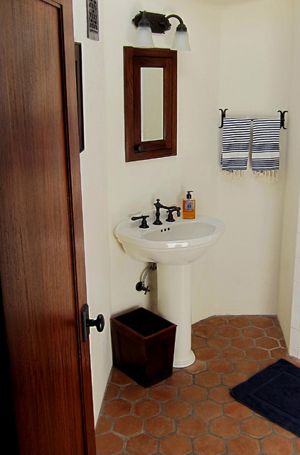 Small Spanish Bathroom With Pedestal Sink Mediterranean
