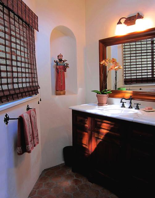 Small Spanish style bathroom in Santa Barbara CA ... on african modern bedroom design, spanish style home designs, spanish style bathroom vanities, spanish style house designs, spanish style decorating living room, santa fe bathroom design, spanish bathroom tile design, spanish mosaic designs, spanish style bathroom mirrors, arizona desert house design, spanish style kitchen countertops, southwestern style design, barn interior design, spanish style tile bathroom, spanish style bathroom shower,