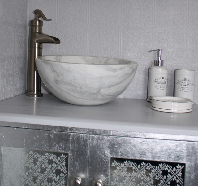 Small Vessel Sink Bowl   Honed White Marble Contemporary Bathroom