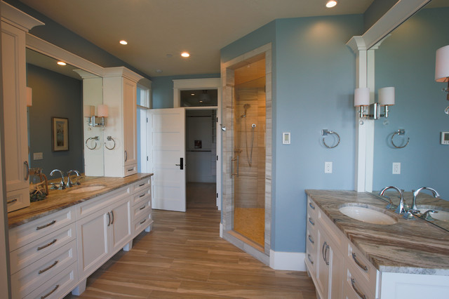 Example of a large transitional master bathroom design in Salt Lake City with an undermount sink, shaker cabinets, white cabinets and blue walls