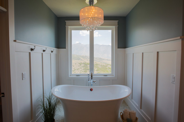 Freestanding bathtub - large transitional master freestanding bathtub idea in Salt Lake City with shaker cabinets and white cabinets