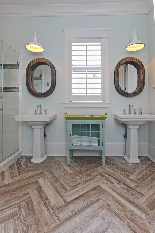 Bath As Well As More Hard Wearing A Wood Look Tile In A Herringbone