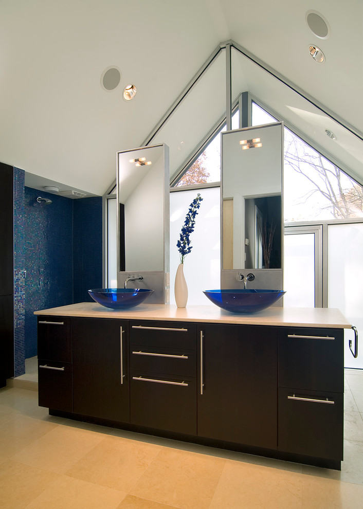 Inspiration for a contemporary bathroom remodel in DC Metro with a vessel sink