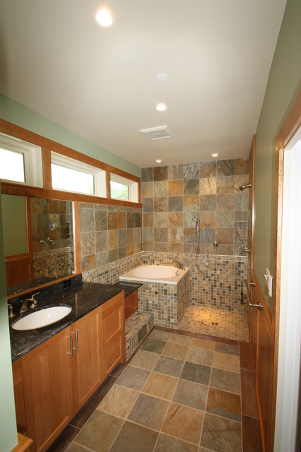 Soaking tub and open shower for Open shower bathroom