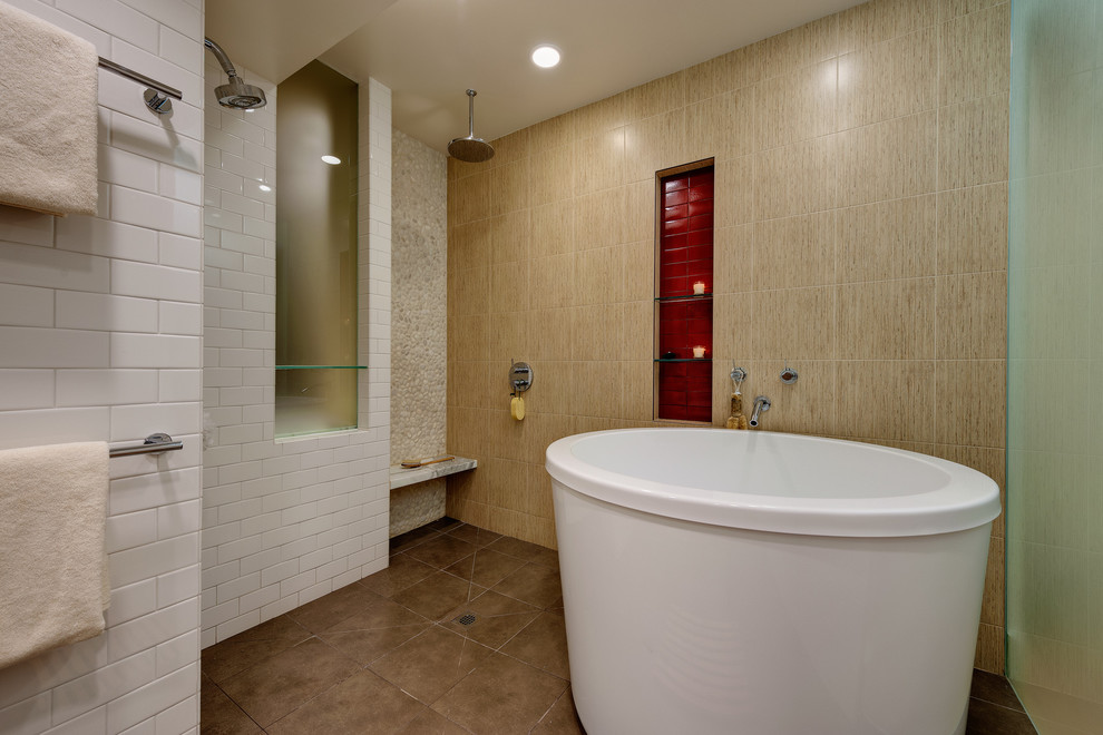 Inspiration for a large contemporary master beige tile, red tile and ceramic tile ceramic tile and brown floor bathroom remodel in San Francisco with beige walls