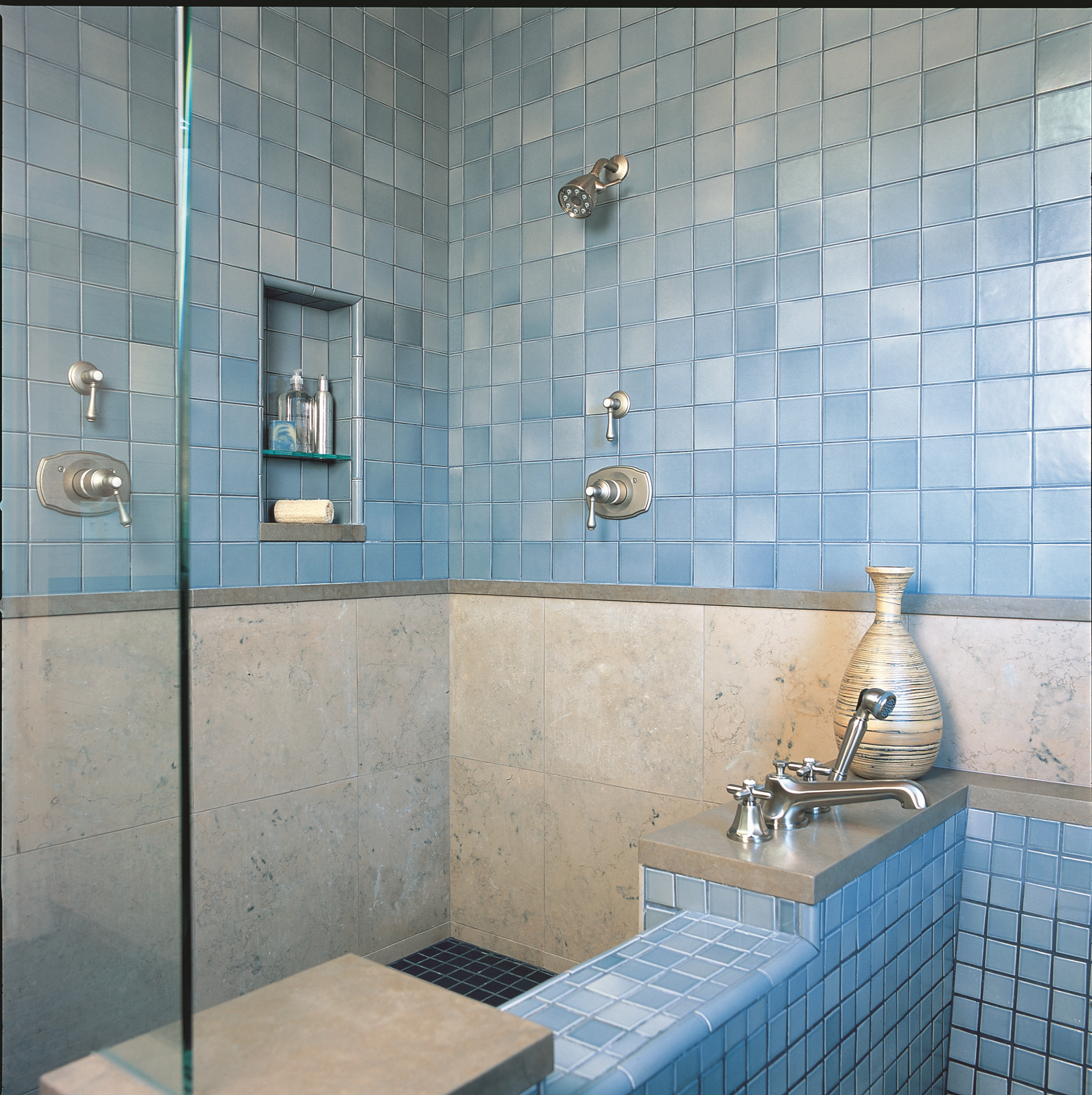 Soaking tub and tile shower
