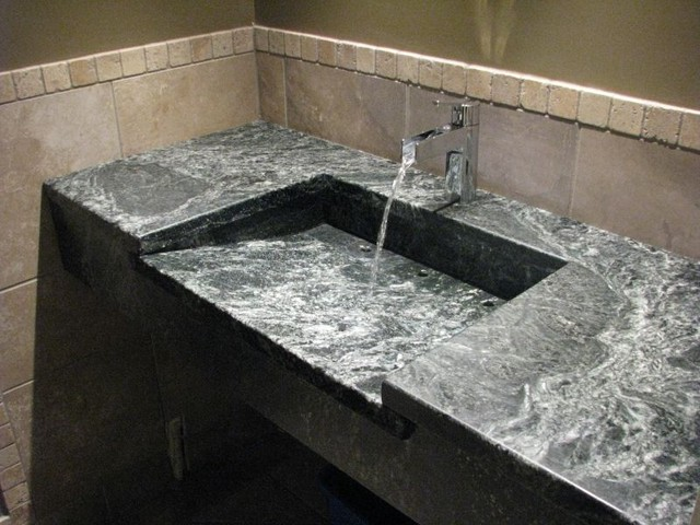 Soapstone Sinks Transitional Bathroom