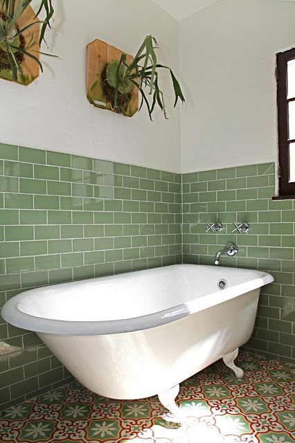 Inspiration for a timeless green tile and ceramic tile cement tile floor and multicolored floor bathroom remodel in Los Angeles with dark wood cabinets, white walls, an undermount sink, engineered quartz countertops, a hinged shower door and beige countertops