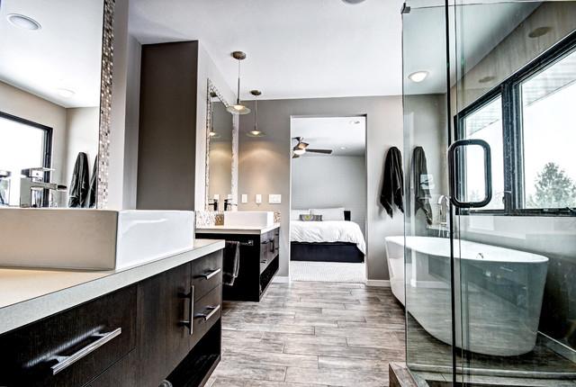 Soft modern interior contemporary bathroom grand for Bathroom design grand rapids mi