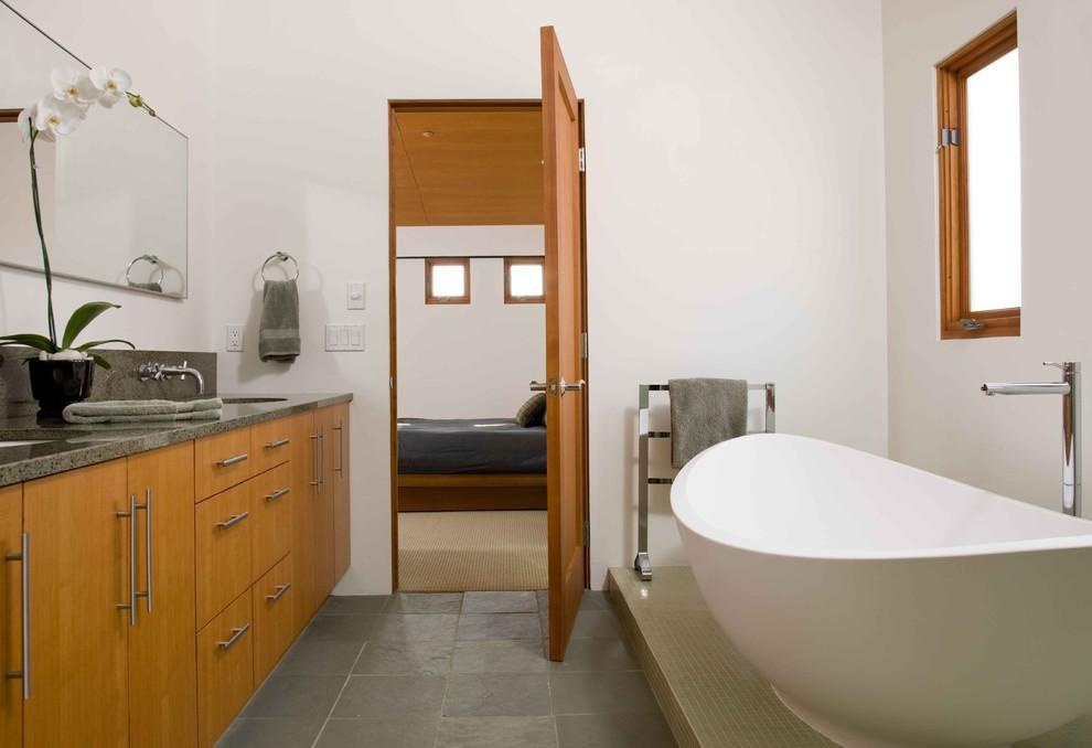 Inspiration for a modern freestanding bathtub remodel in San Diego