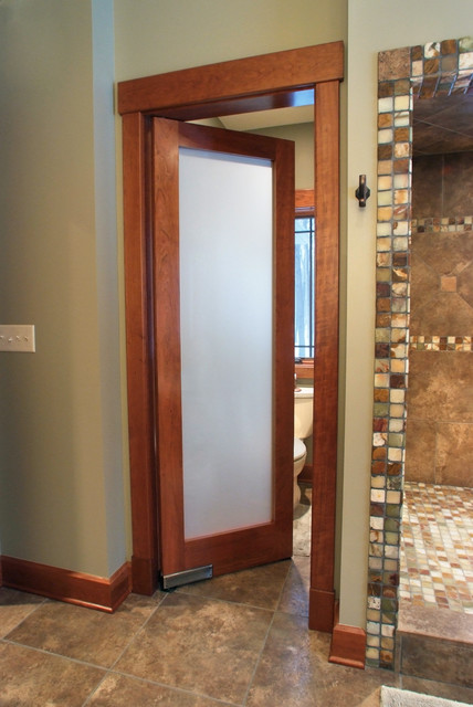 Solid Cherry Frosted 1-Lite double acting door - Contemporary - Bathroom - other metro - by ...