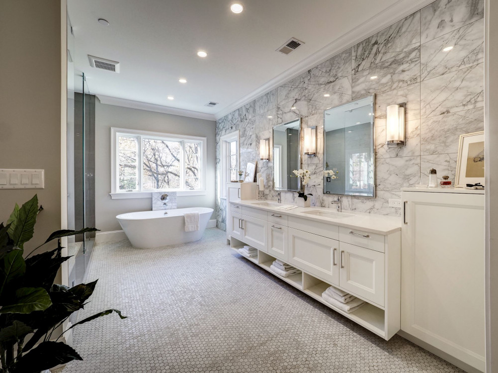 Bathroom - huge transitional master gray tile and porcelain tile gray floor bathroom idea in DC Metro with shaker cabinets, white cabinets, gray walls, an undermount sink, a hinged shower door and white countertops