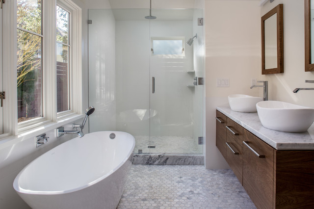 Minimalist white tile and porcelain tile marble floor bathroom photo in San Francisco with a vessel sink, flat-panel cabinets, medium tone wood cabinets, marble countertops and white walls