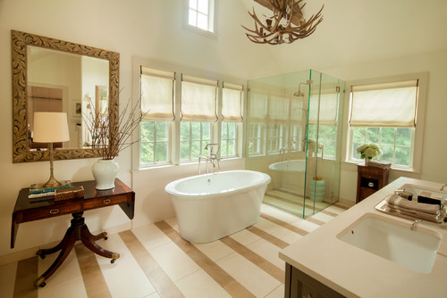 antler chandelier in transitional design bathroom
