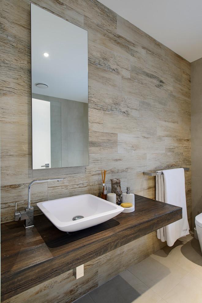 Bathroom - contemporary bathroom idea in Sydney with a vessel sink