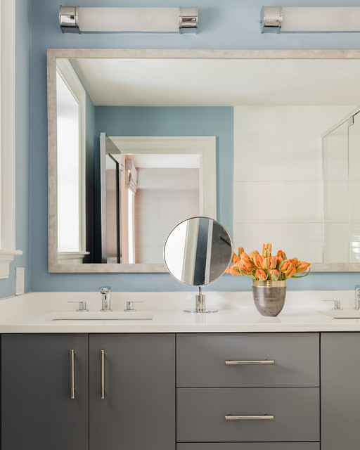 South end townhouse midcentury bathroom boston by for Townhouse bathroom designs