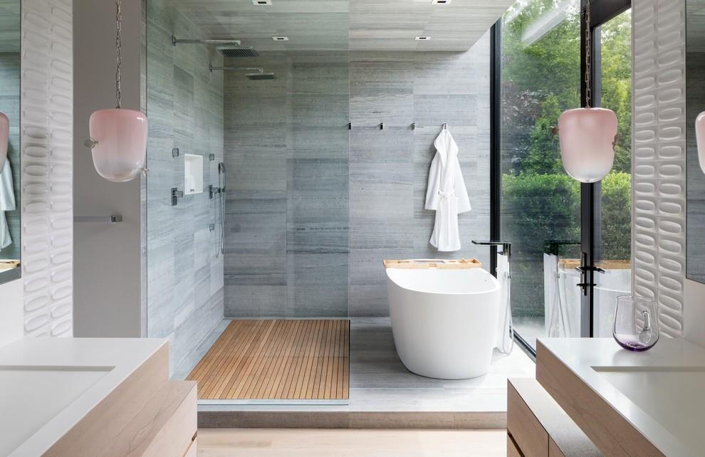 Bathroom - country master gray tile bathroom idea in New York