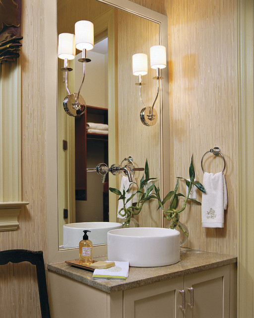 Bathroom - traditional bathroom idea in Charleston with granite countertops, a vessel sink and beige