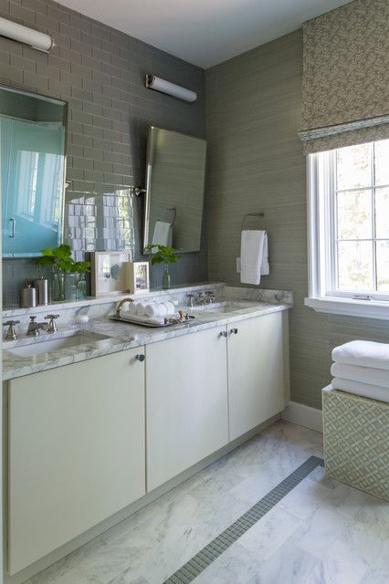 Bathroom - transitional gray tile and subway tile bathroom idea in Birmingham with an undermount sink, flat-panel cabinets, beige cabinets and gray walls