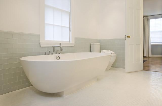 spa bath in 1915 colonial modern bathroom boston