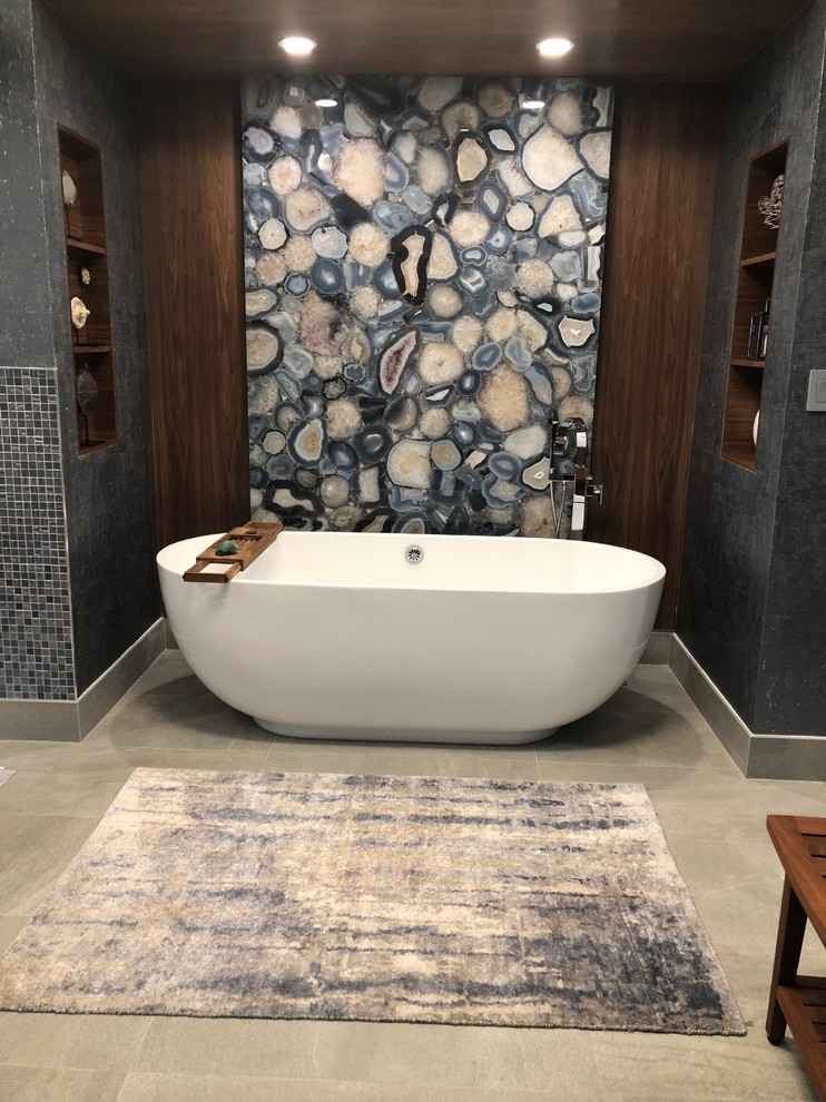 Bathroom - large contemporary master blue tile and glass tile bathroom idea in Miami with flat-panel cabinets, brown cabinets, quartz countertops and beige countertops