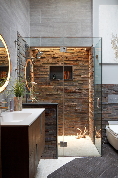 Stacked Stone Shower Walls | o2 Pilates