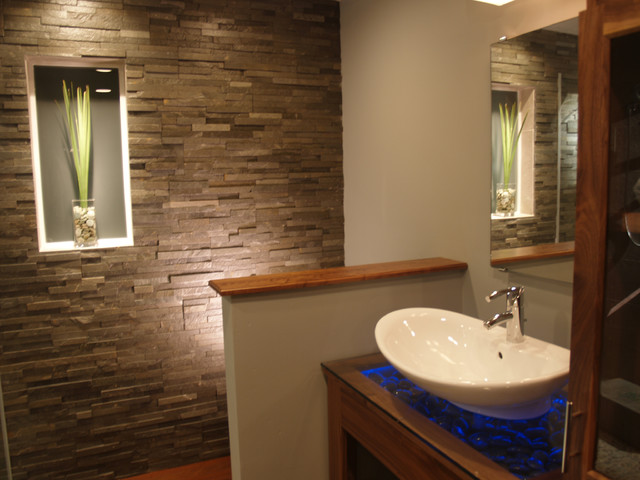 Spa bathroom natural stone contemporary bathroom for Small bathroom natural