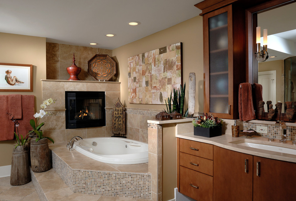 Bathroom - large contemporary master beige tile and mosaic tile ceramic tile and beige floor bathroom idea in Chicago with an undermount sink, flat-panel cabinets, medium tone wood cabinets, beige walls, granite countertops and a hinged shower door