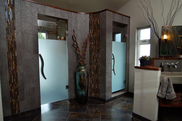 Spanish Style Mediterranean Bathroom San Francisco besides Steam Shower Ensuite Remodel Contemporary Bathroom Other Metro as well Create A Luxurious Hotel Style Bedroom besides Badezimmerfliesen Travertin Fliesen also Rooms. on stone shower design ideas