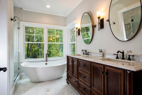 Spa-like Master Bath with Furniture Grade Cabinets and Soaking Tub