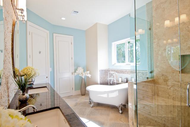 Spa like retreat in rancho santa fe contemporary for Santa fe style bathroom ideas