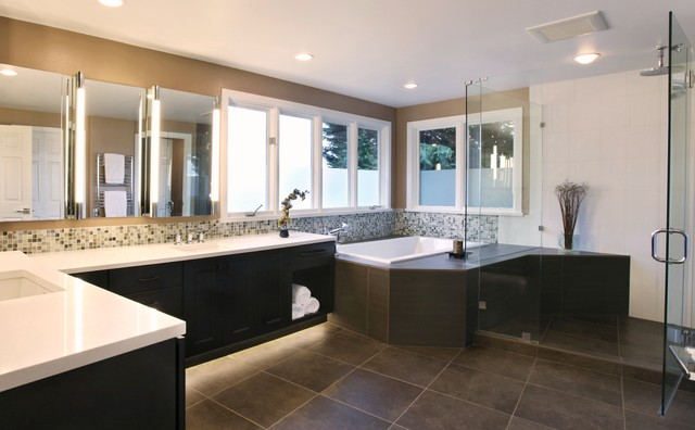 His and hers master bathroom contemporary bathroom for Master bathroom his and hers