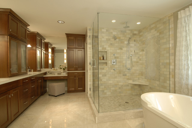 Spa master bathroom traditional bathroom raleigh for Master bath tile designs