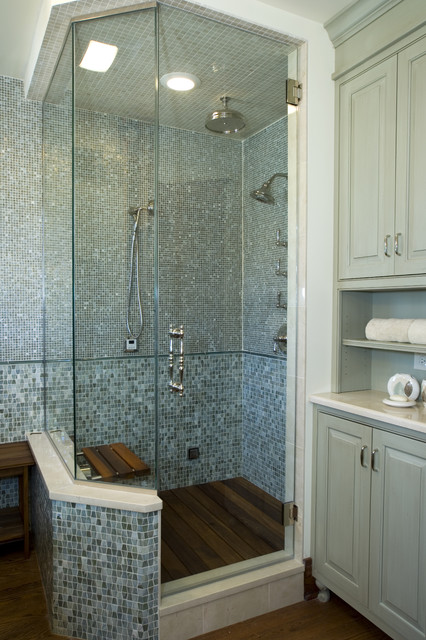Spa Shower With Glass Tiles And Teak Floor Transitional Bathroom