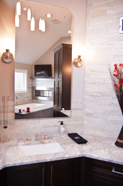 Spa-styled, contemporary master bathroom