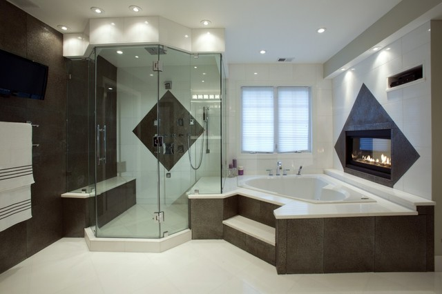 Spa treatment at home with stunning bath and walk in for Closet modernos para habitaciones