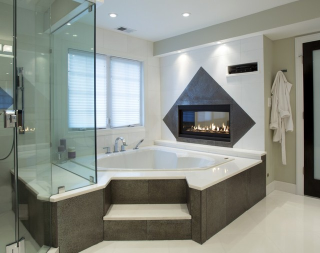 Spa Treatment at Home with Stunning Bath and Walk-in Closet modern-bathroom