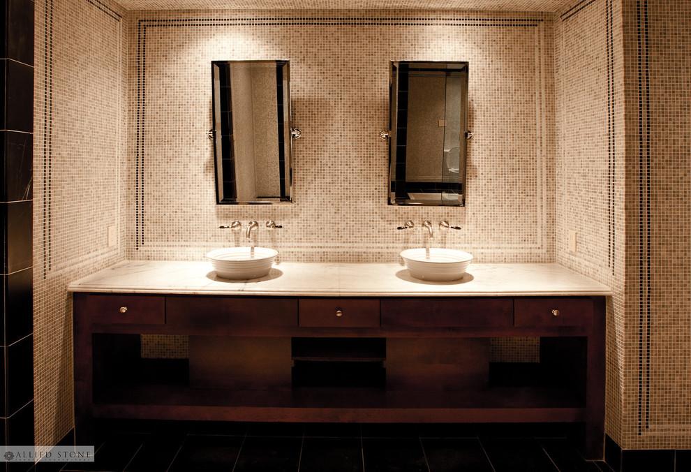 Spa Tubdeck Men S Vanity Mediterranean Bathroom Houston By Allied Stone