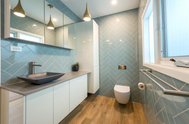space efficient modern duck egg blue bathroom  modern