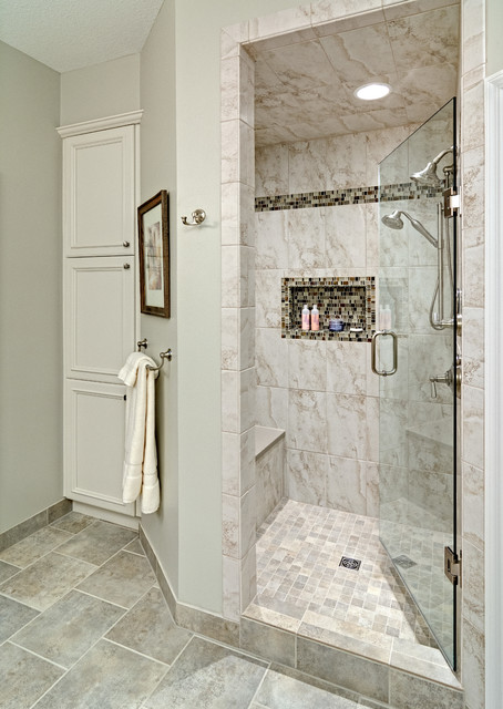Spacious Fully Tiled Walk in Shower Bathroom Minneapolis by