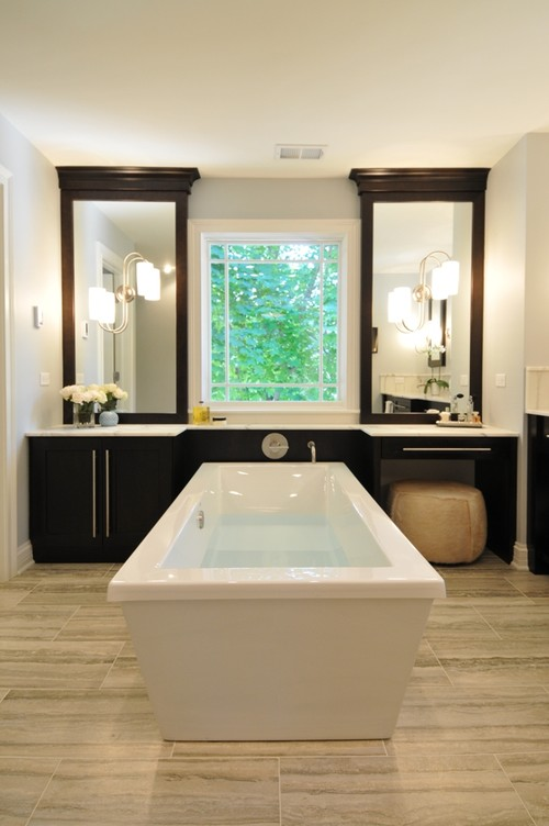 Spacious Serene Spa modern bathroom