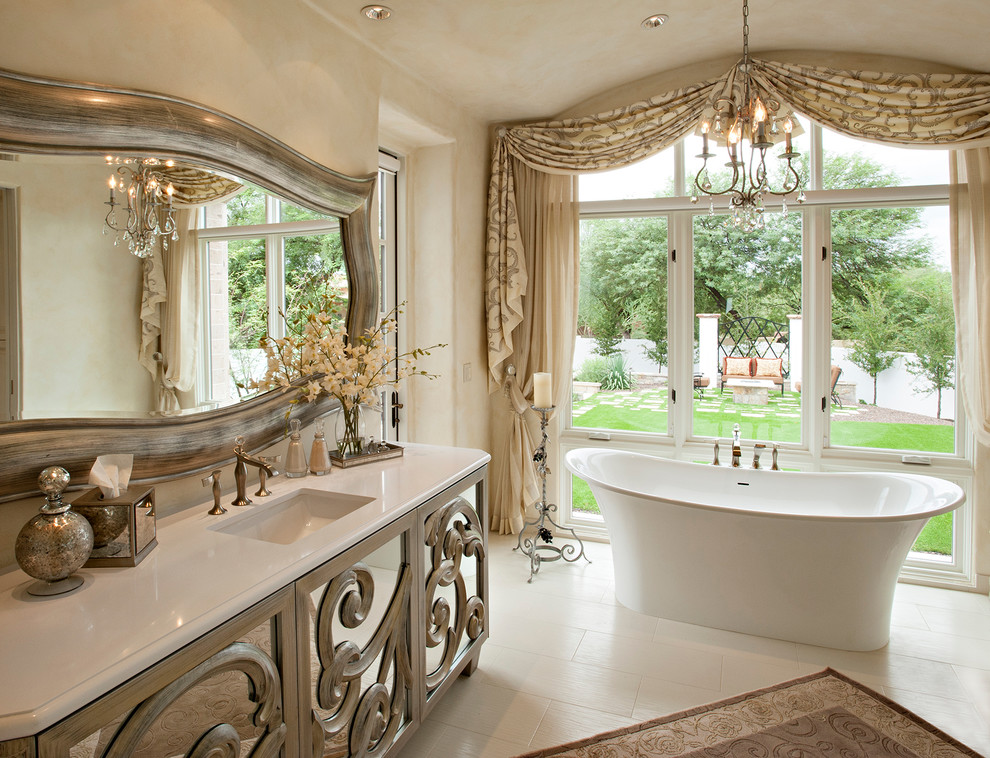 Example of a tuscan freestanding bathtub design in Phoenix