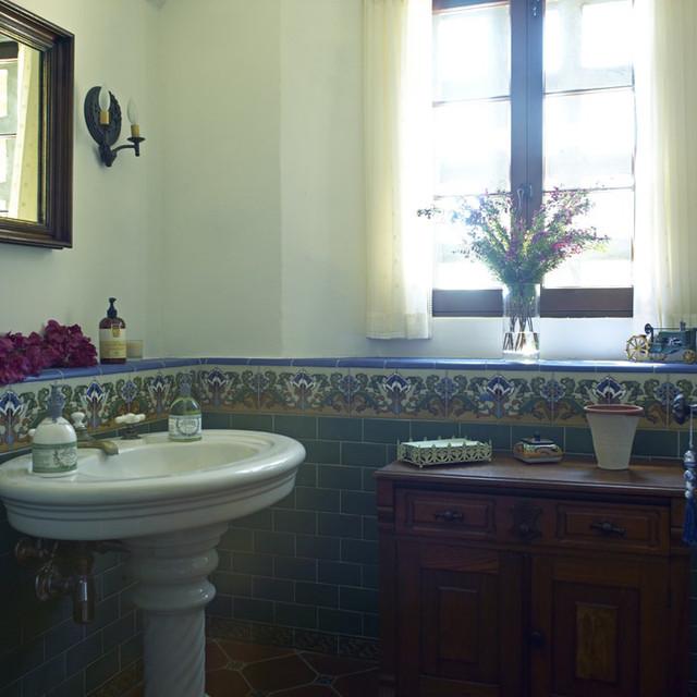 Spanish Colonial Malibu Hills mediterranean-bathroom
