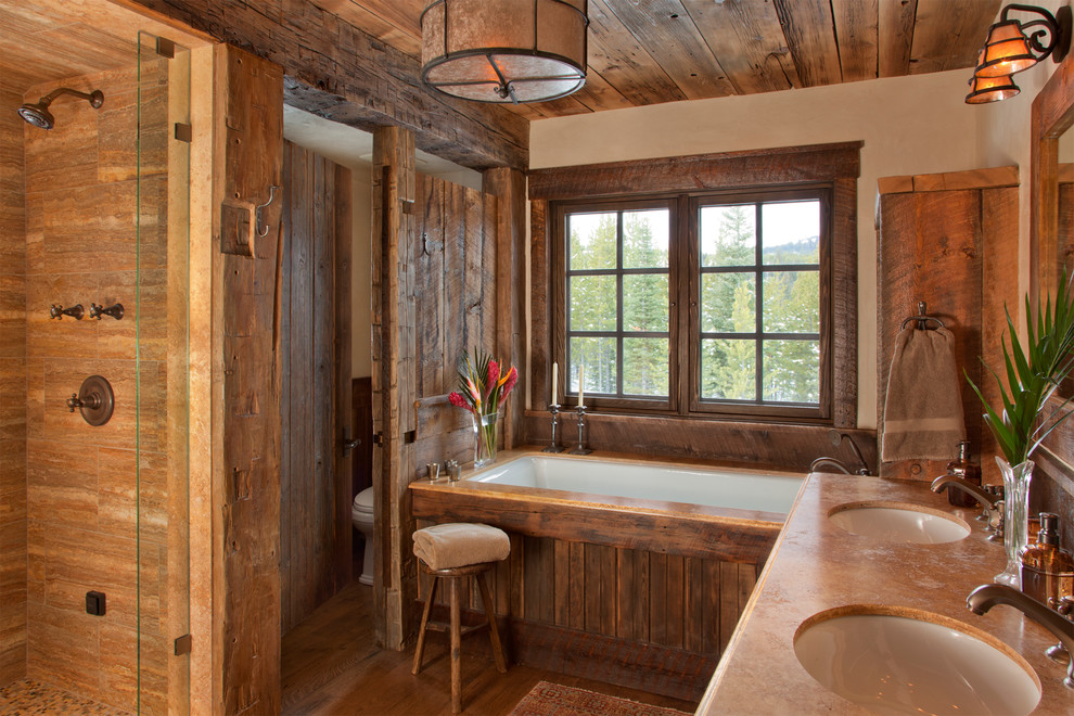 Inspiration for a rustic alcove shower remodel in Other with an undermount sink and an undermount tub