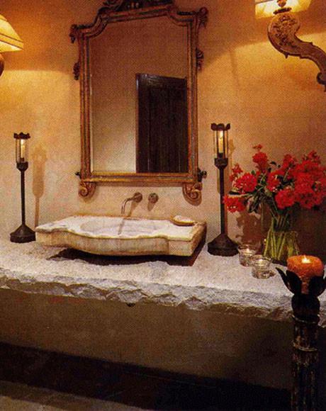 Spanish Powder Bathroom Mediterranean Bathroom