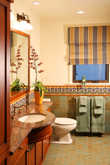 Spanish Revival Restoration Mediterranean Bathroom