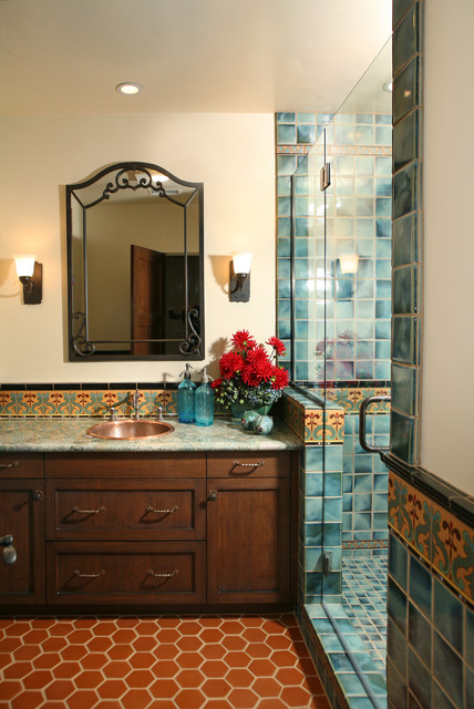 Spanish Revival Restoration Mediterranean Bathroom Los Angeles By Cynthia Bennett