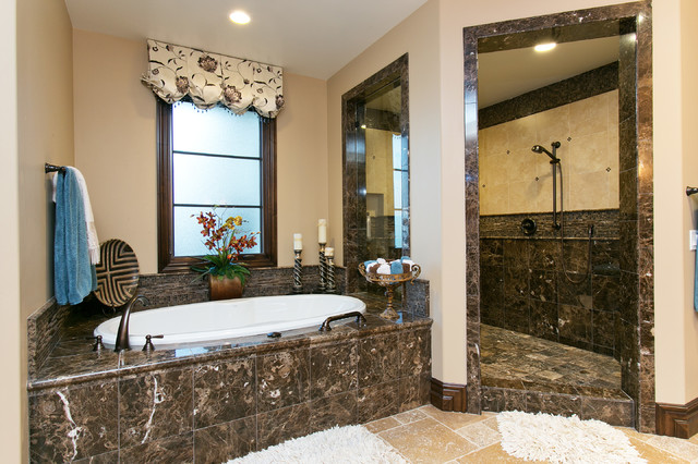Spanish style estate master bath traditional for Spanish style bathroom